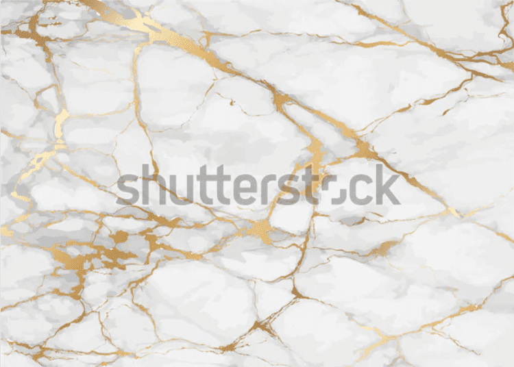 Marble background is rich in white with a grey tone with saturated gold veins.