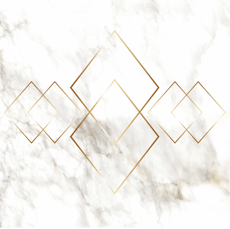 Marble background of white and grey color with 6 geometrical figures with golden frame.