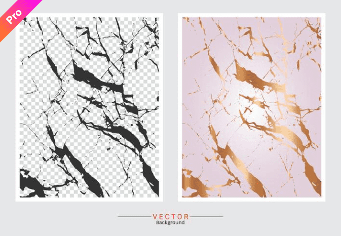 Pink-gold marble background and background in a grey-white cell with black veins.