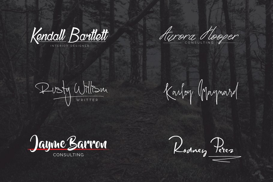 A set of logos in the form of signatures on the background of the mystical forest.