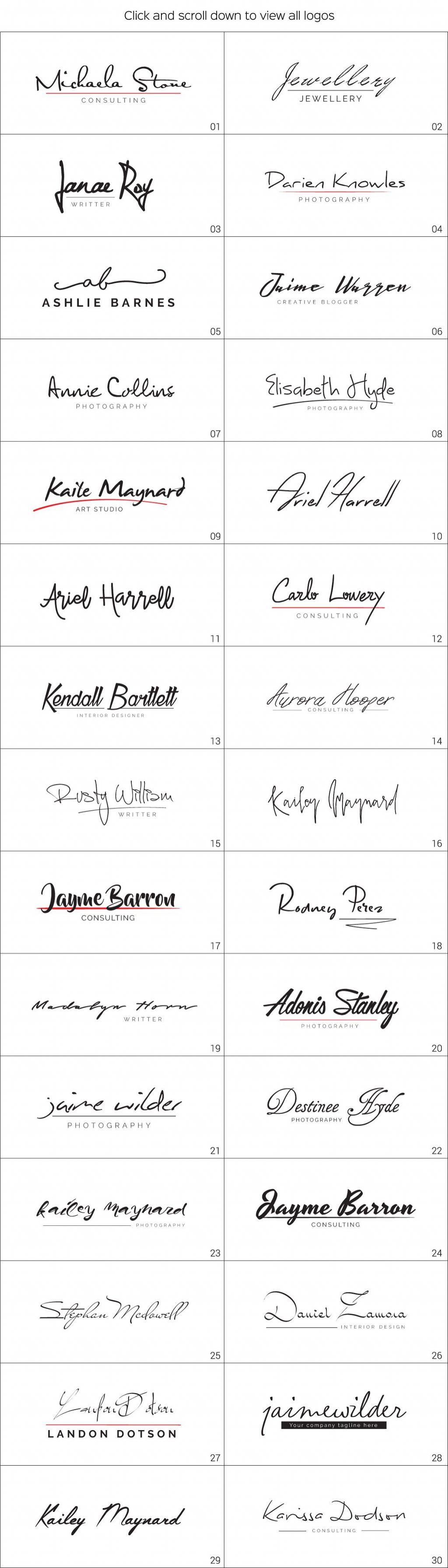 30 Signature Logos Bundle - signature logo