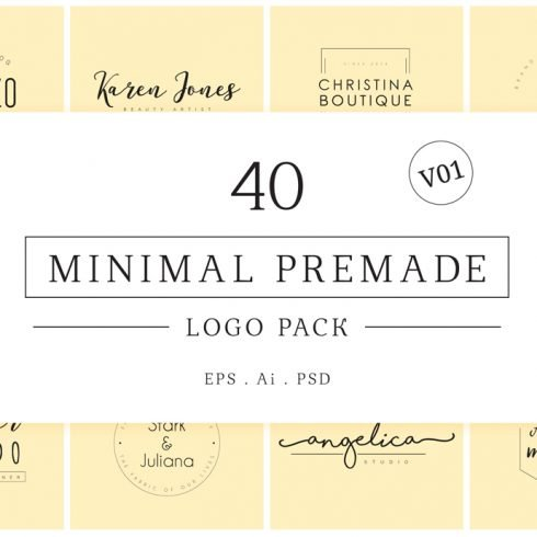 Minimal Premade Logos Bundle 2020 - Preview m01 490x490