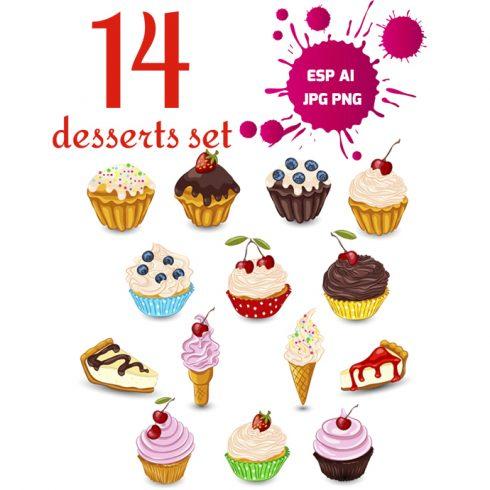 14 Vector Desserts: Eps, PNG, JPG, Ai - Set dessert MB1 490x490
