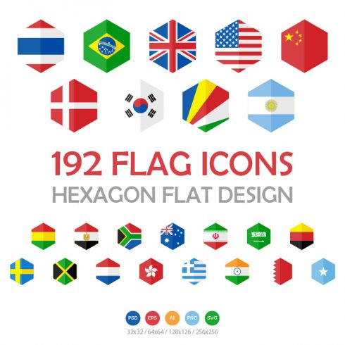 192 Flag Icons Hexagon Flat Design - hexagon SS flag design 18 490x490