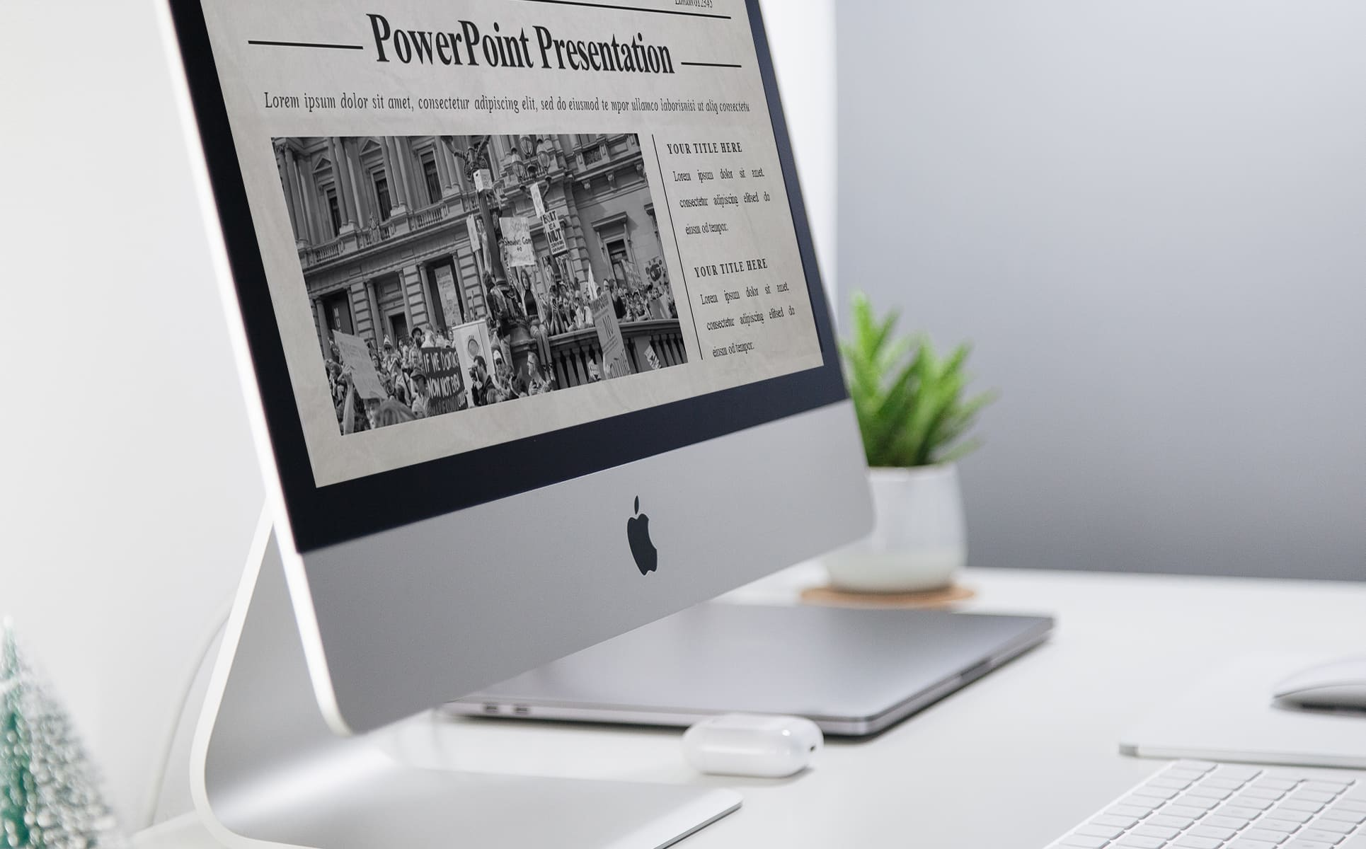 Stylish newspaper presentation template page with the headlines and catchy image.