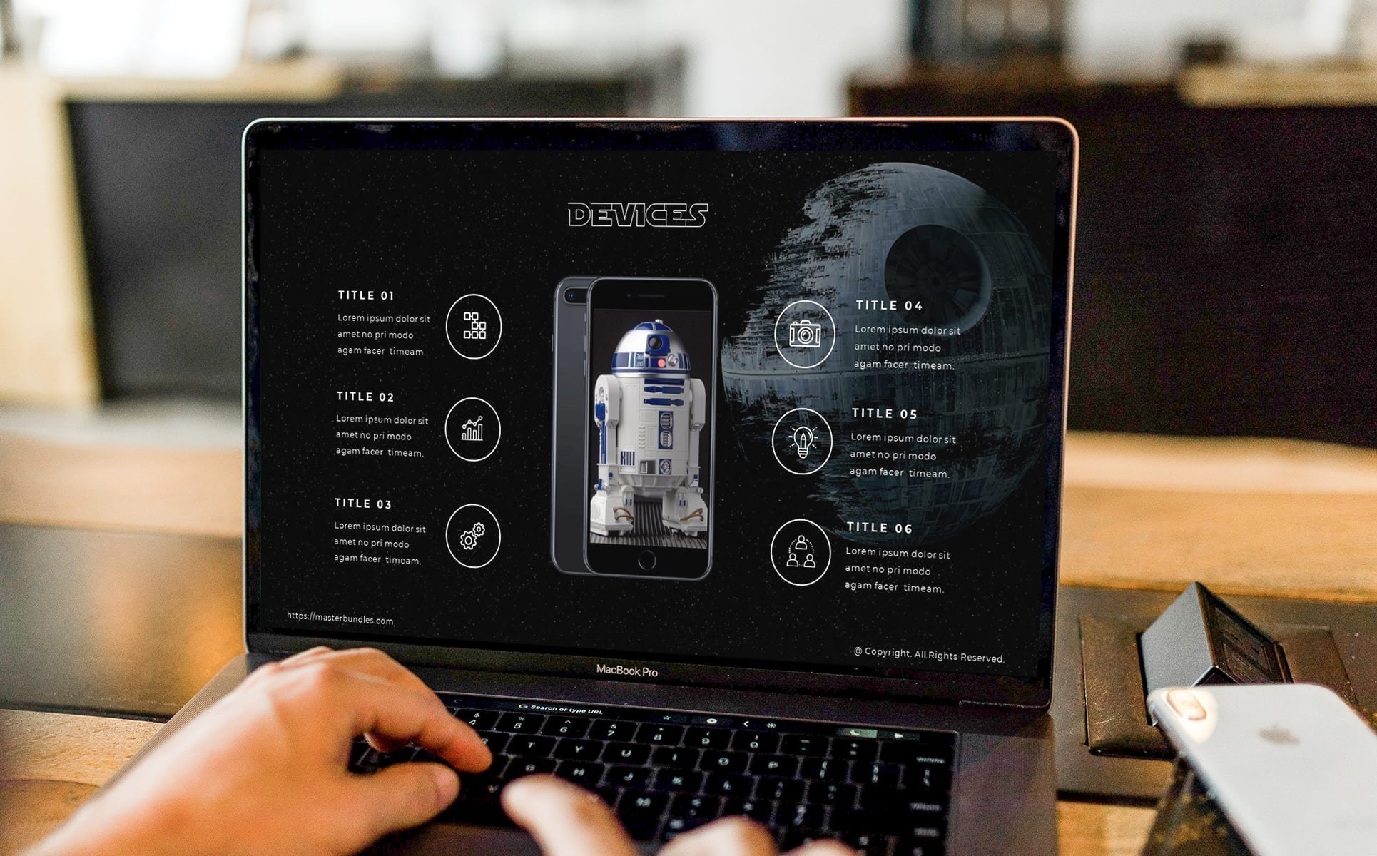 Person working with the slide with the image of Artoo-Detoo.