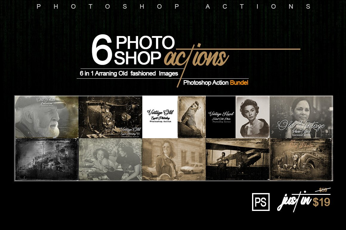 6-In-1 Vintage Photoshop Actions Bundle - PREVIEW 1 1