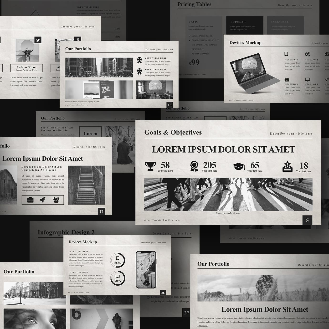Black and white slides with newspaper photos, icons, and text blocks.