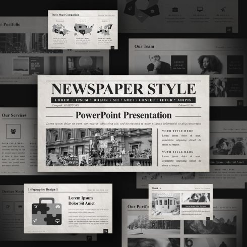 Unusual and stylish slides of the Newspaper PowerPoint template with thematic pictures.