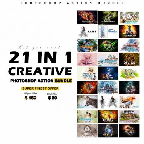 21 in 1 Creative Photoshop Actions Bundle - 690 2 490x490