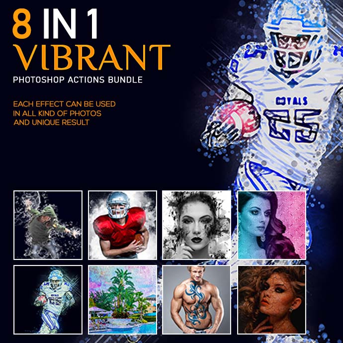 8 In 1 Vibrant Photoshop Action Bundle - Cover Image 1