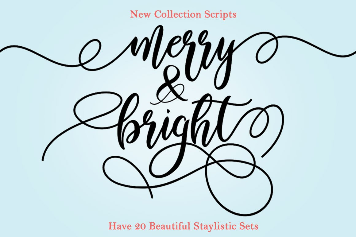 Merry & Bright Script Embroidery Font - Merry Bright1