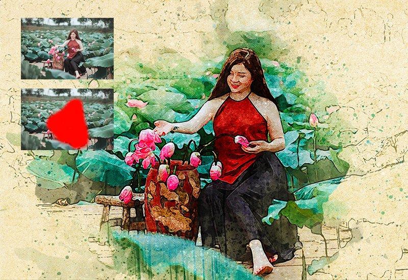 11-In-1 Elegant Watercolor Photoshop Actions Bundle - Preview 25