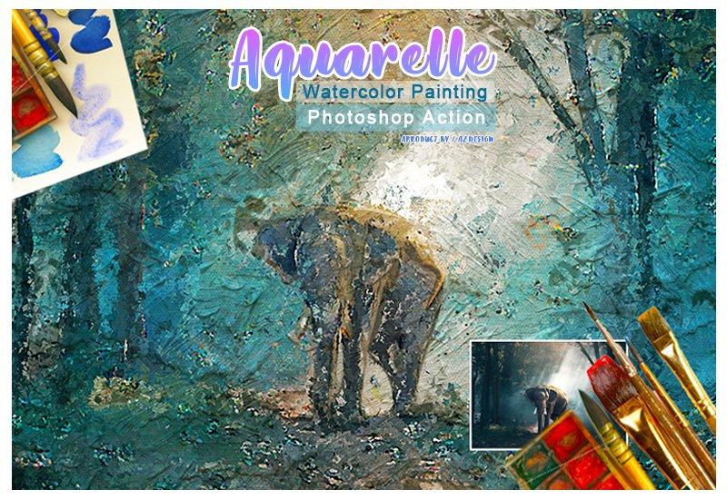 11-In-1 Elegant Watercolor Photoshop Actions Bundle - Preview 32