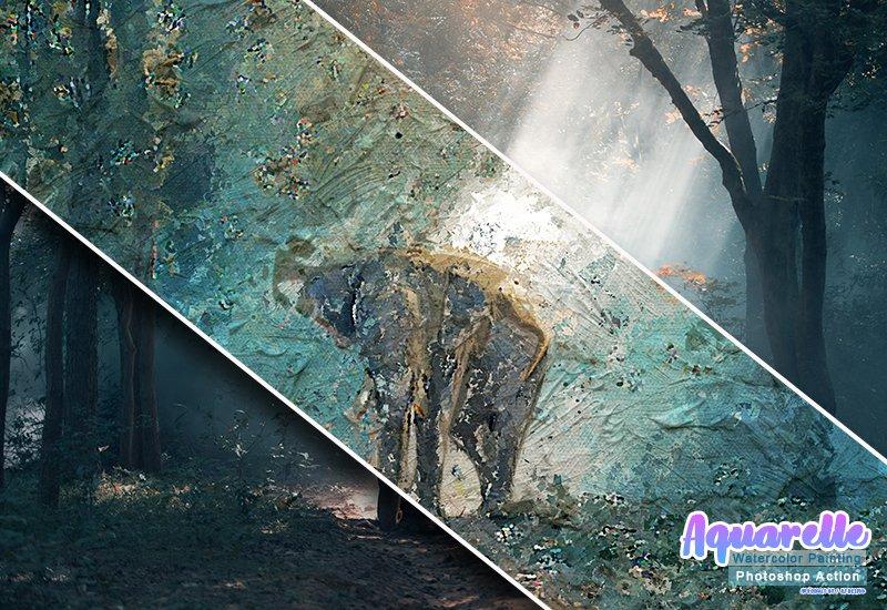 11-In-1 Elegant Watercolor Photoshop Actions Bundle - Preview 33