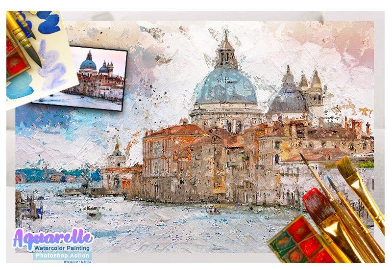 11-In-1 Elegant Watercolor Photoshop Actions Bundle - Preview 34