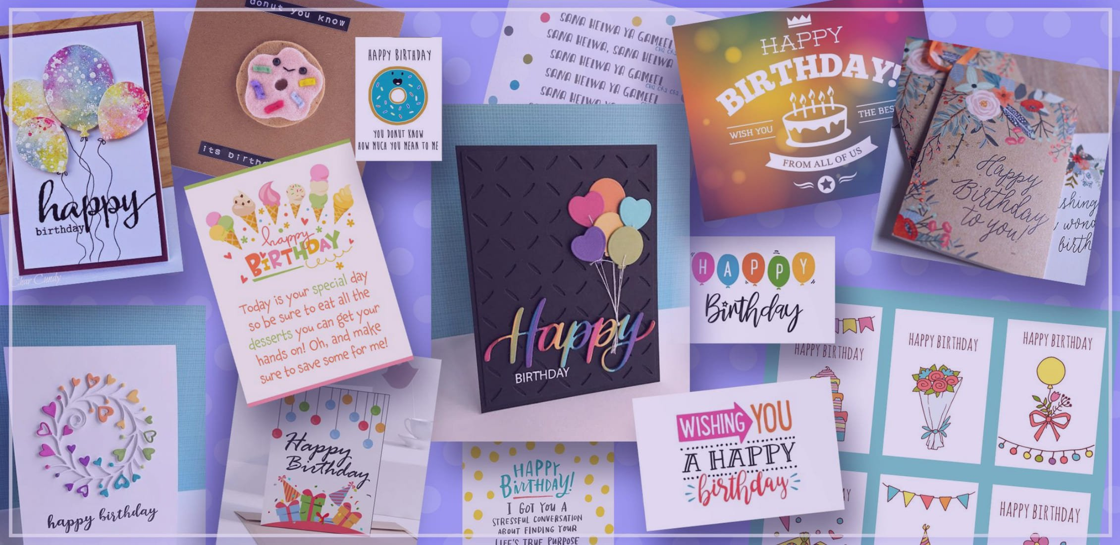 Examples of cool birthday cards for him and her.