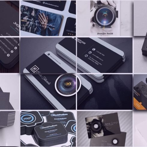 Examples of business cards for photographers.