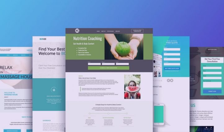 5 Best Unbounce templates on blue background.