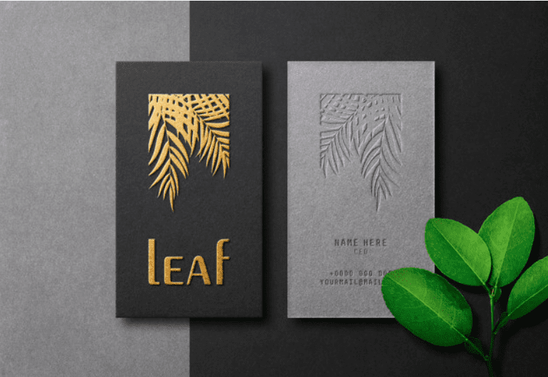 Premium cards with matte finish and embossed logo.