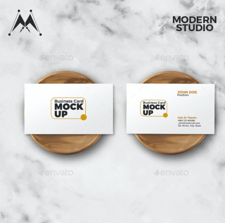 White cards with gold and black font.