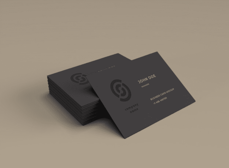 Matte black cards with glossy logo.