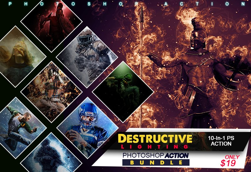 10-In-1 Destructive Lighting Photoshop Actions Bundle - preview 0 590x