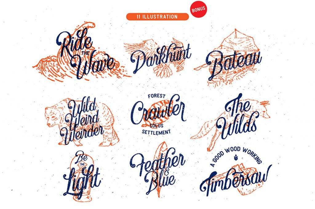 Crawley Textured Font Duo + Illustration