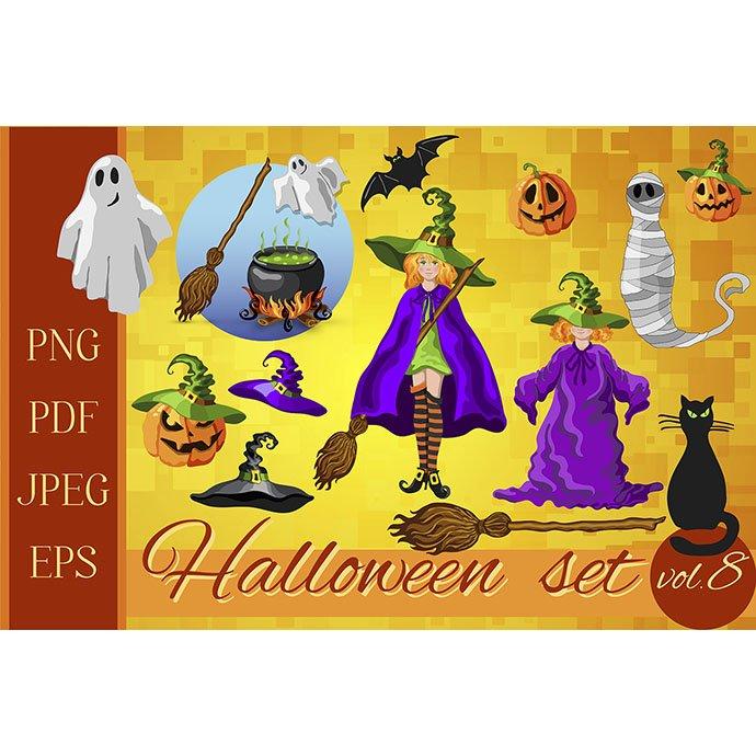 Set of Halloween Cartoon Characters - Set of Halloween characters pmb
