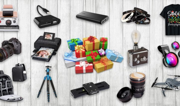 A selection of the best gifts for photographers. Located on light-colored boards.