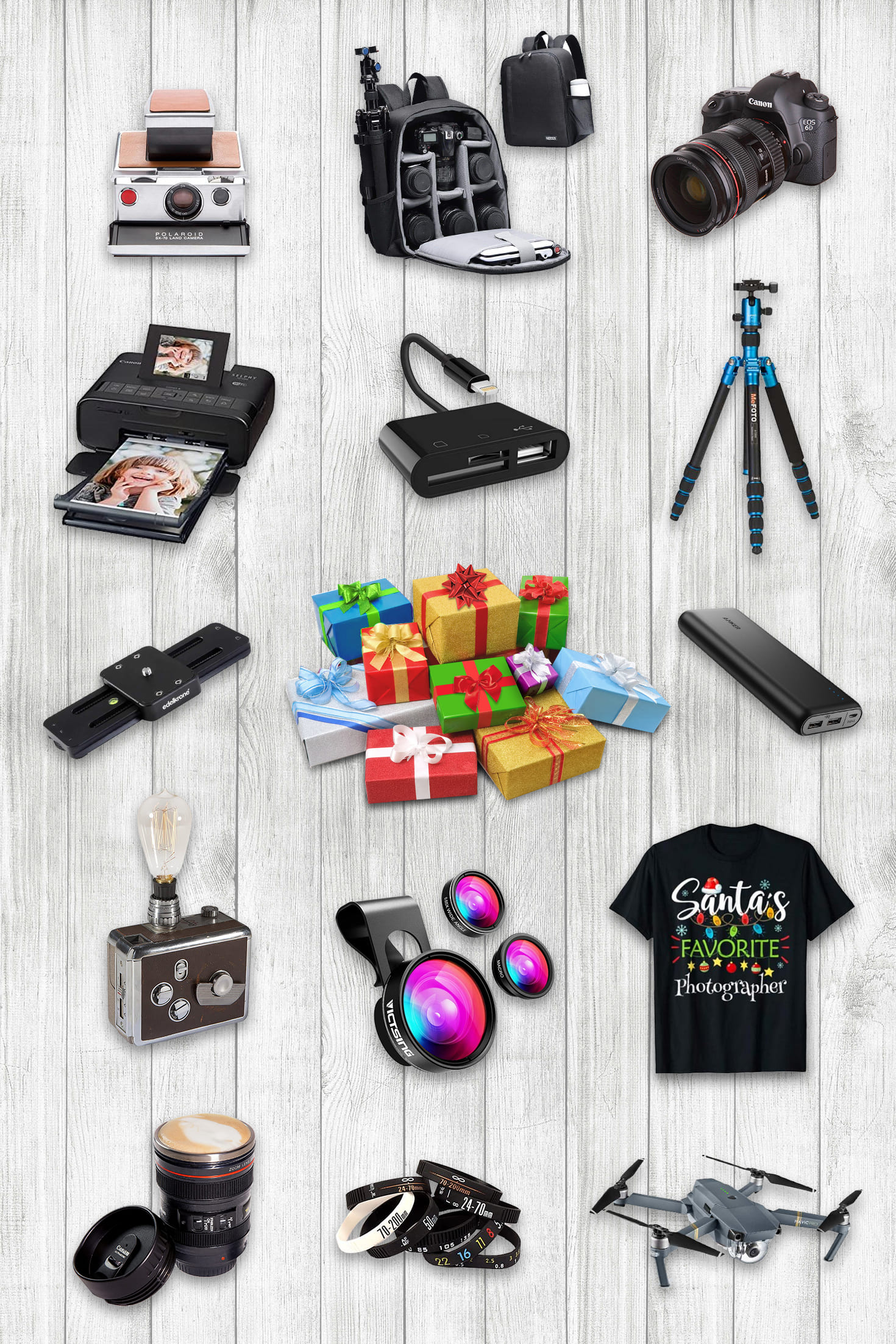 14 examples of the best gifts for photographers: T-shirts, cameras, lenses, bags, lenses and drones.
