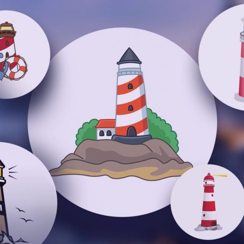 Examples of different painted lighthouses. Lighthouses are located in white circles.
