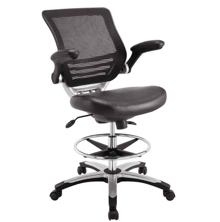 Comfortable black work chair with adjustable height.