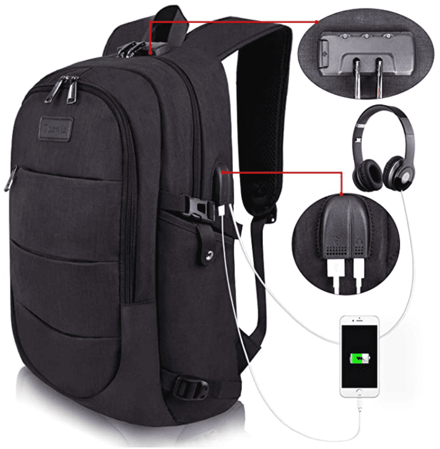 Black travel backpack with built-in charging ports for your devices.