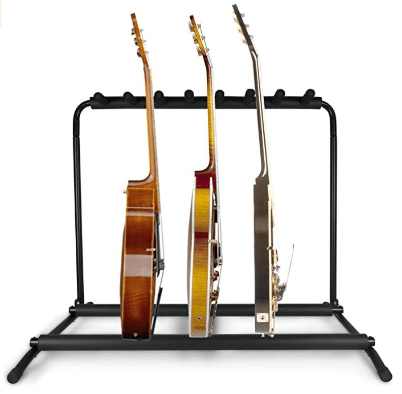 Pyle Multi Guitar Stand 7 Holder Foldable Universal Display Rack - Portable Black Guitar Holder With No slip Rubber.