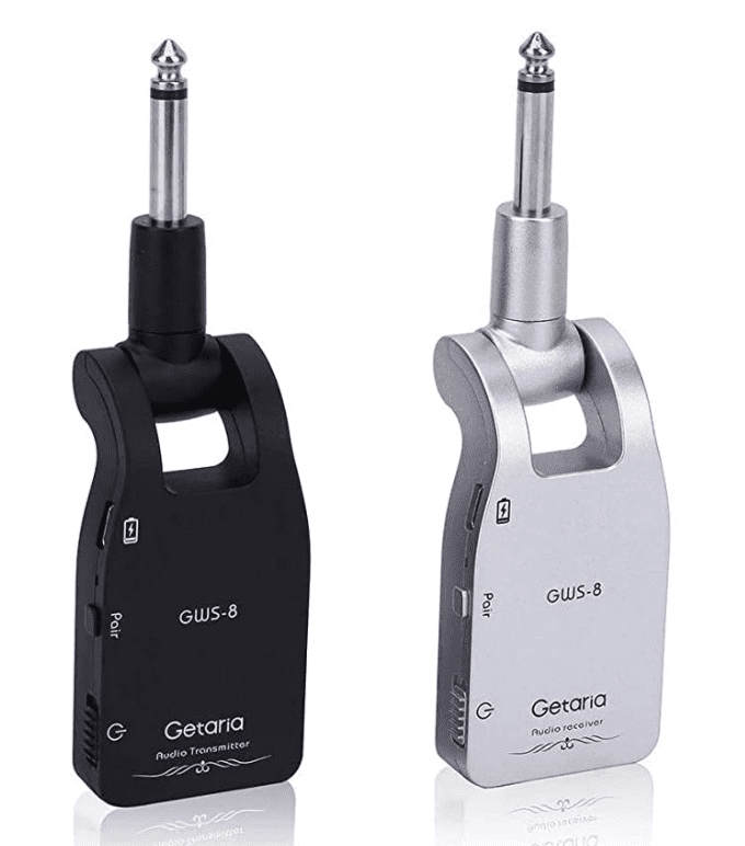 Getaria 2.4GHZ Wireless Guitar System Built-in Rechargeable Lithium Battery Digital Transmitter Receiver for Electric Guitar Bass.