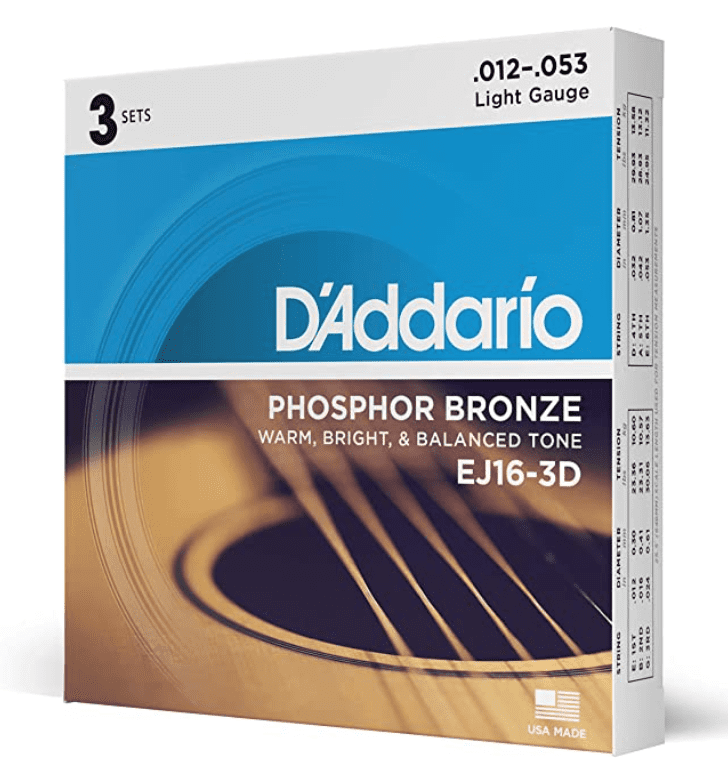 D'Addario EJ16-3D Phosphor Bronze Acoustic Guitar Strings, Light Tension – Corrosion-Resistant Phosphor Bronze, Offers a Warm, Bright and Well-Balanced Acoustic Tone.