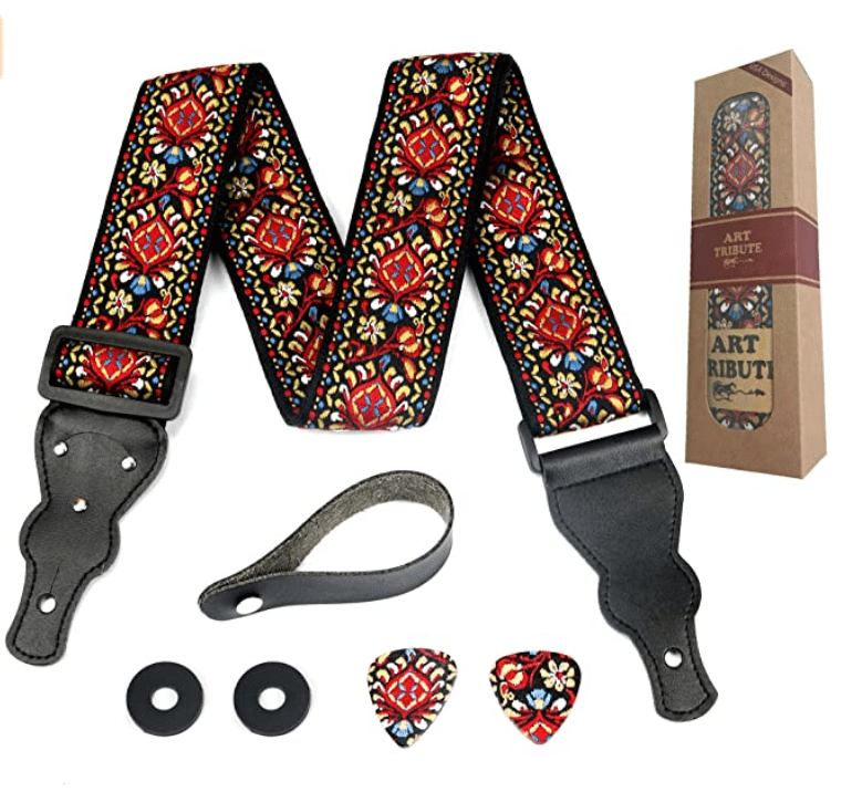 Guitar Strap Embroidered Red Vintage Woven W/FREE BONUS- 2 Picks + Strap Locks + Strap Button. For Bass, Electric & Acoustic Guitars.