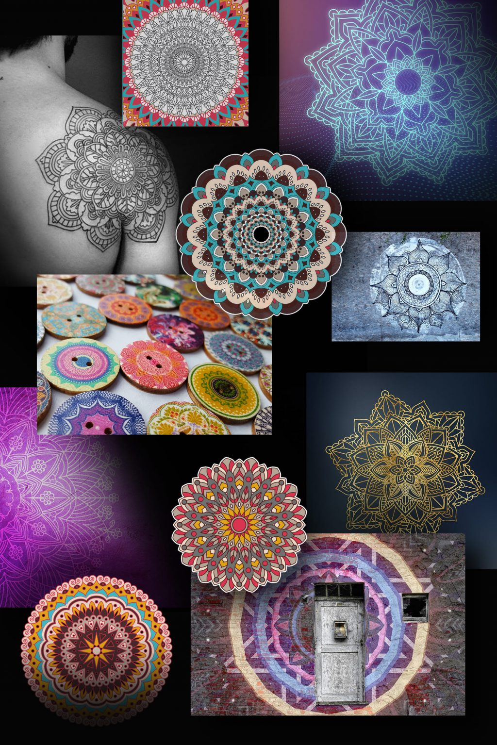 A selection of mandalas in the Pinterest format.