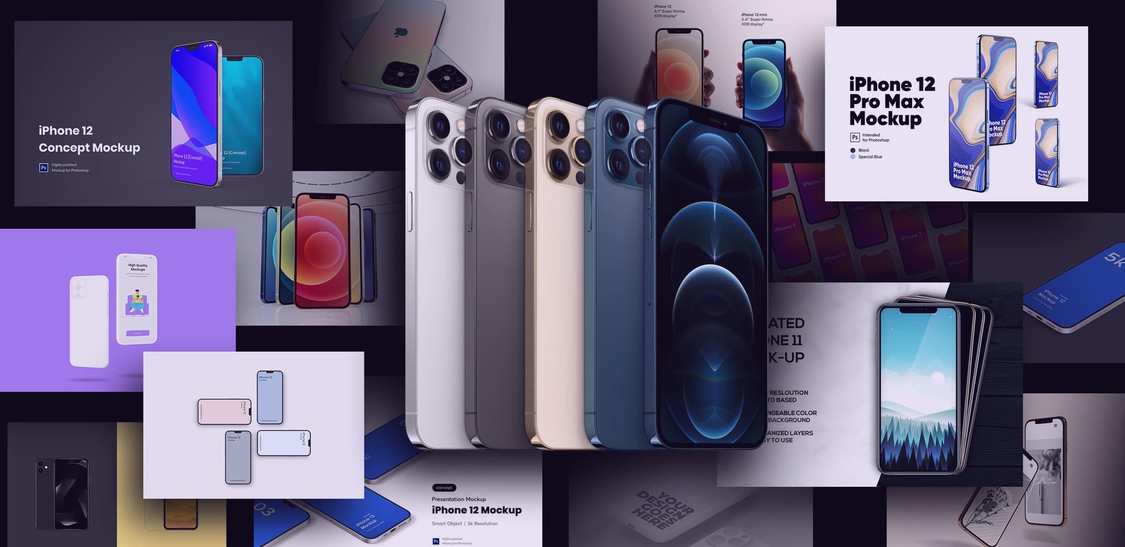 Examples Best iPhone 12 Mockup: Mini, Pro, Max.