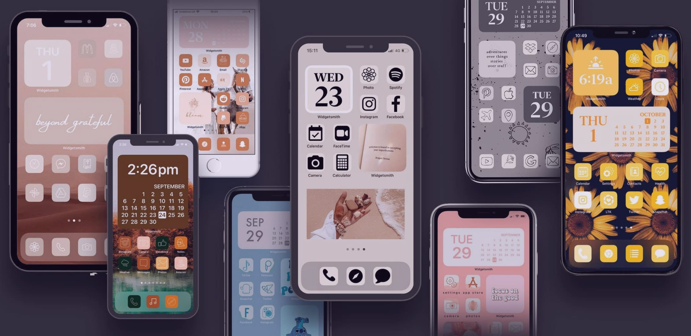 Examples of custom icons for iPhone applications.