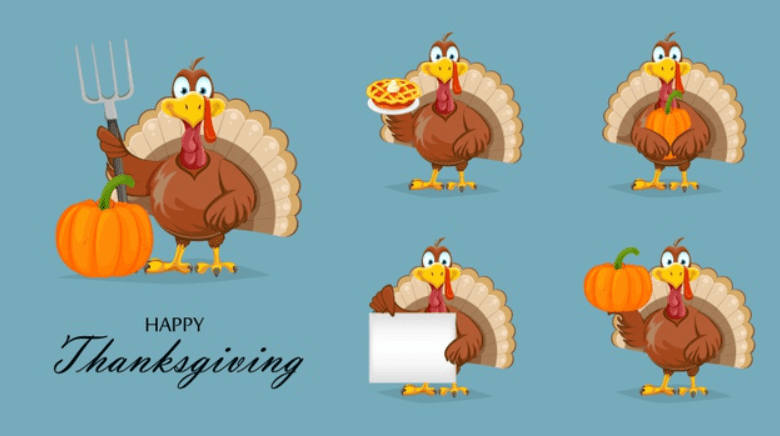 Set of funny thanksgiving turkey in flat design Premium Vector.