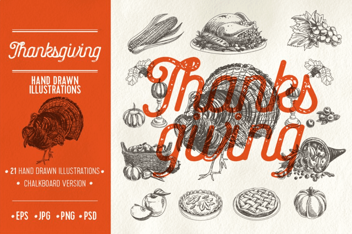 Thanksgiving sketch illustrations by Natalya Levish.