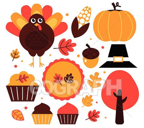 Colorful thanksgiving design elements isolated on white.