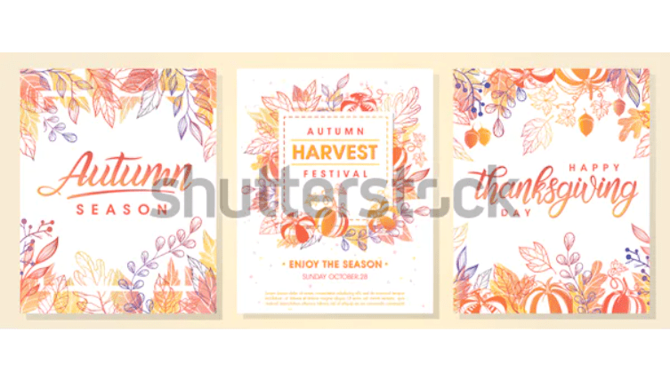 Autumn seasonal posters with autumn leaves and floral elements in fall colors.