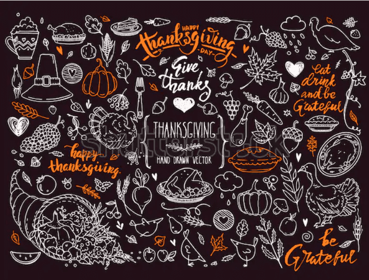Thanksgiving traditional symbols. Hand drawn design elements, illustrations, handwritten lettering.