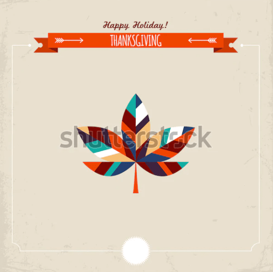 Thanksgiving holiday greeting card with maple leaf. Vector illustration.