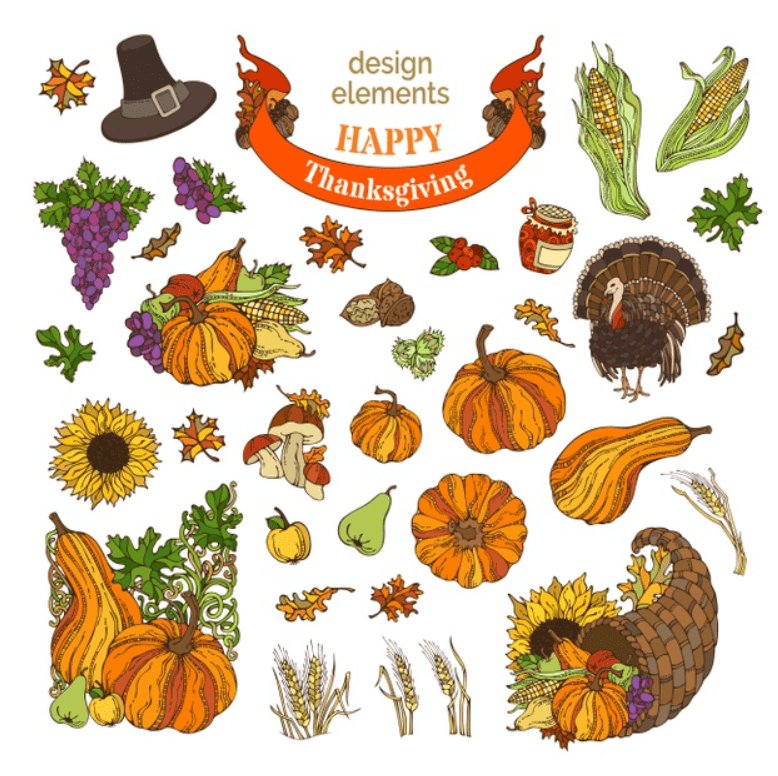 Cartoon thanksgiving design elements. turkey, cornucopia, pilgrim's hat, pumpkin, corn, wheat, and others. Premium Vector.