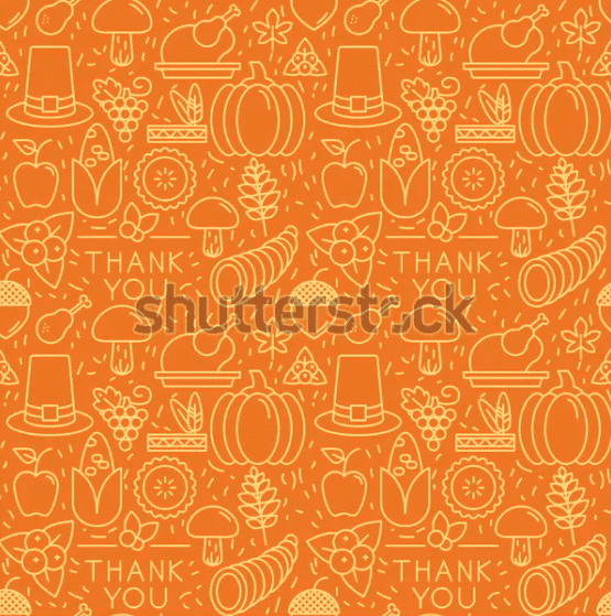 Thanksgiving elements on orange background.
