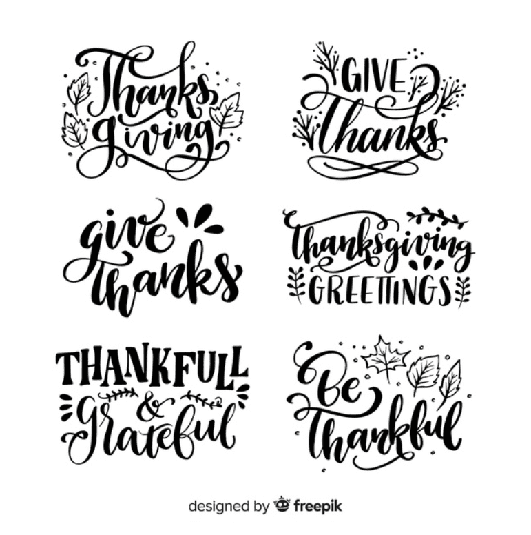 Happy Thanksgiving lettering badges collection Premium Vector